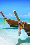 Longtail boats. On the tropical beach royalty free stock photography
