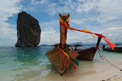 Longtail boats. On Poda island, Thailand royalty free stock photography
