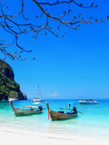 Longtail boats anchored at Ao Yongkasem beach on Phi Phi Don Isl Royalty Free Stock Photos