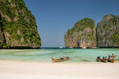 Longtail boats anchored at Maya Bay on Phi Phi Leh Island, Krabi Province, Thailand. It is part of Mu Ko Phi Phi National Park stock photo