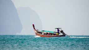 Longtail boats at  Ao Nang beach, Krabi , Thailand Stock Photo