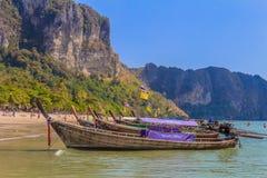 Longtail boats in Ao Nang Beach Thailand Stock Photo