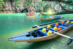 Longtail Boats At Cave Entrance Of Puerto Princesa Philippines Stock Photos