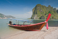 Longtail Boats at the beach Stock Photography