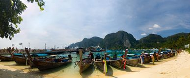 Longtail boats beach. This is longtail boats phi-phi beach panorama Stock Image