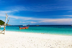 Longtail boats at the beautiful beach Stock Photo