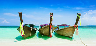 Longtail boats. At the beautiful beach, Thailand Royalty Free Stock Images