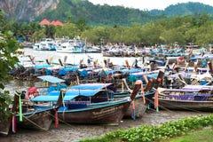 Longtail boats in a canal at Nopparatthara pier, Ao Nang, Krabi, Thailand royalty free stock photo