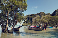 Longtail boats, East Railay Bay in Thailand Stock Images