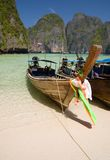 Longtail boats in the famous Maya bay Stock Photography