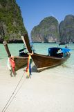 Longtail boats in the famous Maya bay Stock Image