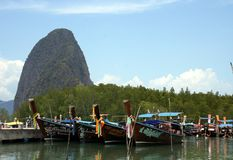 Longtail boats in Gypsy village royalty free stock photos
