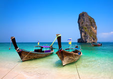 Longtail boats, Ko Poda Island. Stock Photo
