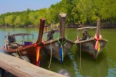 Longtail boats in Krabi Thailand Stock Photo