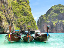 Longtail Boats in Maya Bay, Ko Phi Phi, Thailand Royalty Free Stock Photography