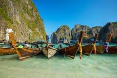Longtail boats in Maya Bay, Koh Phi Phi Leh Royalty Free Stock Images