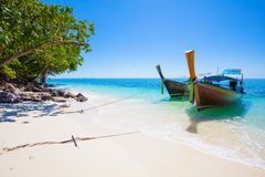 Longtail Boats Moored At Aonang Beach Stock Photo
