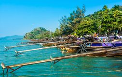 Longtail boats on Railey beach, Thailand stock image