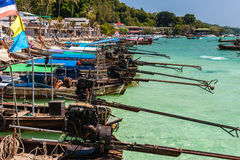 Longtail boats in a row Stock Photo