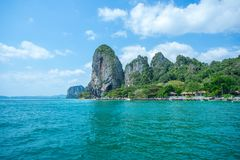 Longtail boats in the sea near Rairay beach in Krabi Province Thailand Stock Images