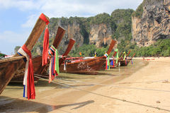 Longtail Boats. On the shore in Krabi, Thailand. Photo shot in January, 2013 Stock Image