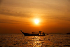 Longtail boats on sunset Royalty Free Stock Photo