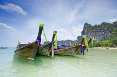 Longtail boats in Thailand. Tradiotional Thailand's longtail boats on Railey beach stock image