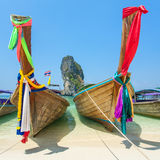Longtail boats at the tropical beach in Andaman sea Royalty Free Stock Photography