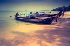 Long boat and tropical beach. Andaman Sea Thailand Stock Photo