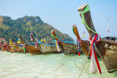 Longtail boats at the tropical beach near Krabi in Andaman sea, Thailand Royalty Free Stock Photography
