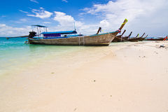 Longtail boats on a tropical island Royalty Free Stock Photo