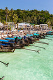 Longtail boats in tropical island Stock Photos