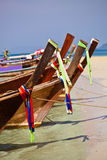 Tropical beach, longtail boats, Andaman Sea, Thailand Stock Photos