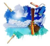 Longtail Boot auf dem Seetropischen Strand Lizenzfreie Stockfotografie