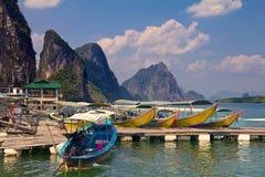 Longtail-Boote in Krabi Thailand Lizenzfreies Stockbild