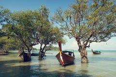 Longtail fartyg i Thailand Arkivbilder