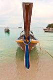 Longtail front. Frontal view of a longtail boat in thailand Royalty Free Stock Photo