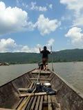 Longtailboat fishingboat mountain หาดท่าสำราญ บุ่งคล้า แม่โขง. River mekhong thailand Royalty Free Stock Photography