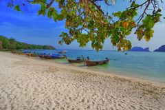Longtailboats at the beach Royalty Free Stock Images