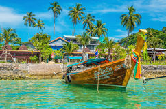 Longtailed boat with seashore, Thailand Royalty Free Stock Images