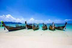 Longtale boat at the beach Stock Photos
