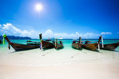 Longtale boat at the beach Stock Images