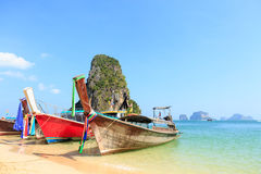 Longtale boat on the beach Stock Images