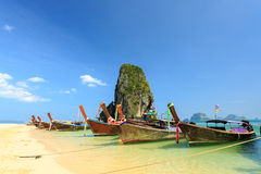 Longtale boat on the beach Royalty Free Stock Images
