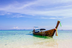 Longtale boat at the beautiful beach Stock Images