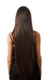 longtemps mince d'isolement par cheveu femelle arrière Image stock