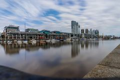 Longterm Exposure Modern Harbour Puerto Madero district in Bueno Stock Photo