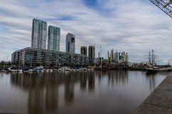 Longterm Exposure Modern Harbour Puerto Madero district in Bueno Royalty Free Stock Photos