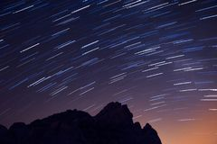 Longtime Exposure of Stars above Volcanic Landscape of Teide National Park, Tenerife, Spain. Europe Royalty Free Stock Photos