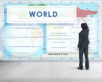 Longtitude纬度世界绘图概念 库存照片